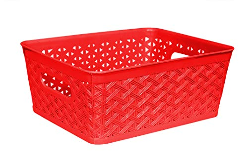 Xllent® Plastic Storage and Shelf Basket Set of 6 Pieces, Red (Medium Size :- 26cm*20cm*11cm).