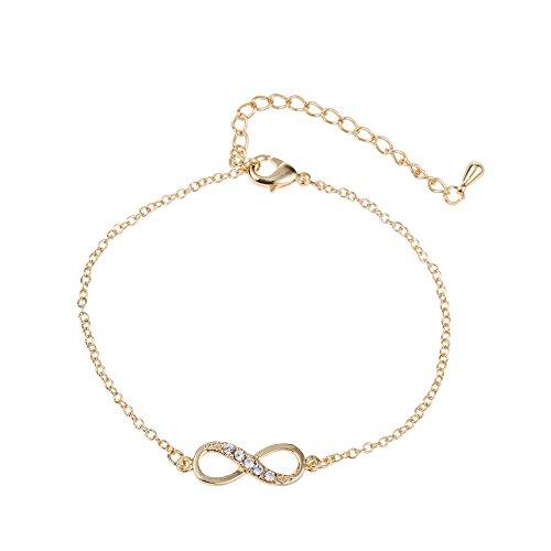 Kleine Armband Gold (GOOD.designs silber Infinity Armkettchen, Unendlichkeits - Anhänger in Gold oder Silber (Gold mit Kristalldiamant))