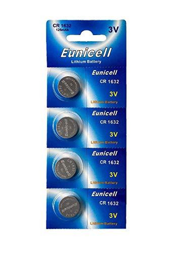 4 x CR1632 3 V Lithium Knopfzellen 120 mAh (1 Blistercard a 4 Batterien) EINWEG Markenware Eunicell