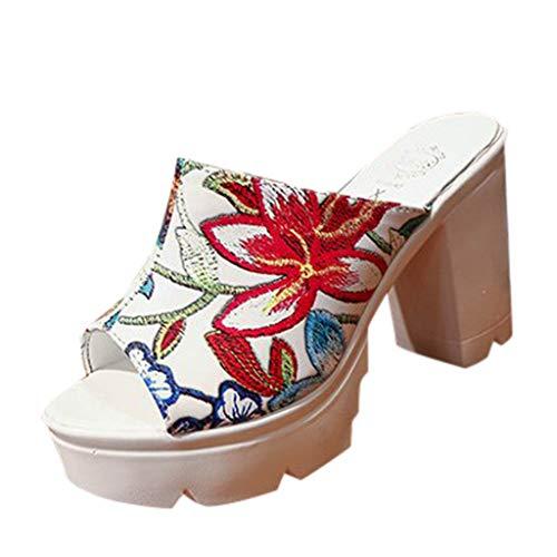Damen 10cm High Block Heel Pantoletten Slip On Peep Toe Sandaletten Open Back Bequeme Plateauschuhe mit Blumendruck - Hi Heel Open-toe