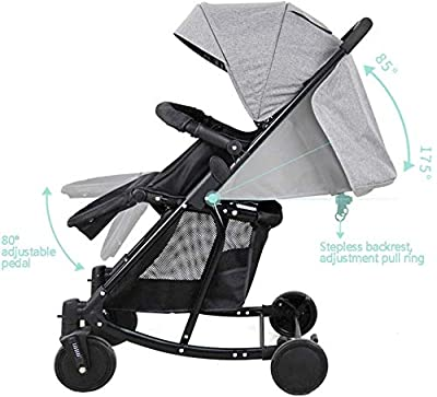Baby carriage Rollwagen All Terrain - 2 In 1 Leichtgewicht-Kinderwagen - Kompakter Reise-Buggy - Einhändig Zusammenklappbar - Fünf-Punkt-Gurt - Ideal Für Flugzeuge, Blau B