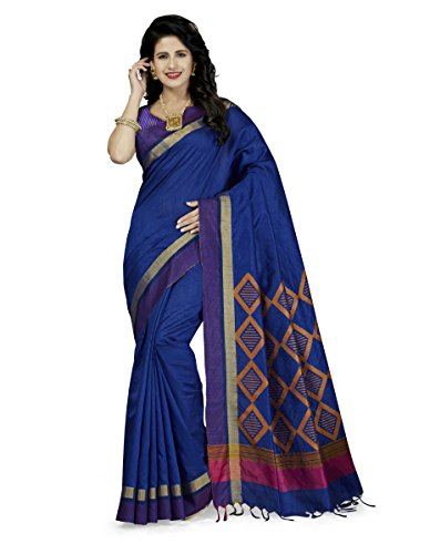 Rani Saahiba Women's Art Dupion Silk Zari Border Saree ( WVS5_Royal Blue...