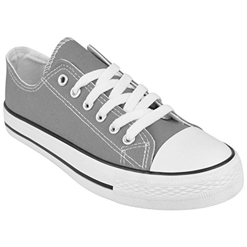 BRAND NEW LADIES WOMENS GIRLS CANVAS ® FLAT LACE UP PLIMSOLLS PUMPS TRAINERS SNEAKERS SHOES (UK 5 / EU 38 / US 7, Grey)