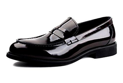 Leder-fahrer-schuhe (Dilize Herren Patent Leder Slip auf Oxford Business Schuhe, Braun - rotbraun - Größe: 43 EU)