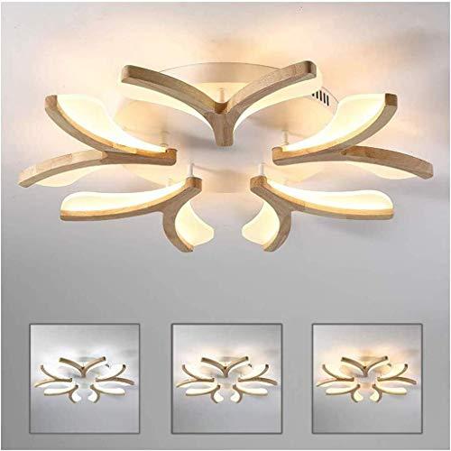 LAZ Techo de luz LED regulable 5 Llamas de madera Flor de techo Lámpara de la forma de la sala de estar dormitorio Sala de Estudio Isla de cocina