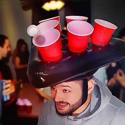 mikamax - Chapeau de bière Gonflable Pong - Noir - Jeux d'eau - avec des Tasses et des Boules