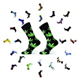 Sesto Senso® Lustige Socken Baumwolle Damen Herren Blatt 1er oder 3er Paar Bunt Wadensocken Unisex Wunderliche Seltsame Ungerade Fun Socks (43-46, Blatt - Schwarz, Grün)