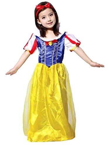 Inception Pro Infinite Größe L - 6 - 7 Jahre - Kostüm - Verkleidung - Karneval - Halloween - Prinzessin Schneewittchen und die Sieben Zwerge - gelbe Farbe - Mädchen