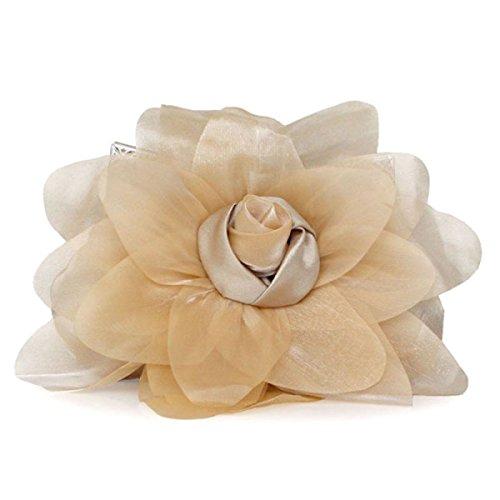 Signore Di Personalità Di Modo Roses Banchetto Del Telefono Mobile Cosmetic Handbag Champagne