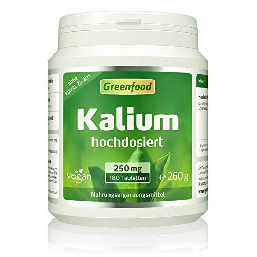 Greenfood Kalium, 250 mg, 180 Tabletten - stabilisiert den Blutdruck. Stärkt Nerven, Muskeln und das Herz. OHNE künstliche Zusätze. Ohne Gentechnik. Vegan.
