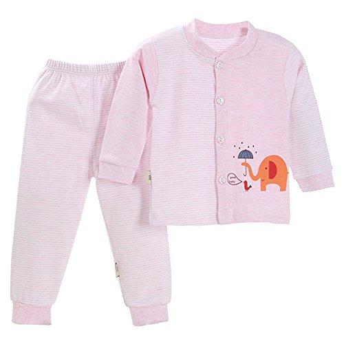 KINDOYO Lindo Animal Impresión Pijamas Set Para Unisexo Niño Minions, Pijama para Niños, rosa elefante / verde / azul