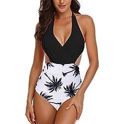 Ajpguot Verano Mujer Sexy V-Cuello Trajes de Una Pieza Impresión Traje de Baño Push Up Bikinis Monokinis Triángulo Swimwear Tankinis Talla Grande (XL, 19010 Negro Blanco)