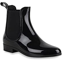 Damen Stiefeletten | Chelsea Boots Lack | Damenschuhe Muster Animal Print | Blockabsatz Schuhe | Flandell®