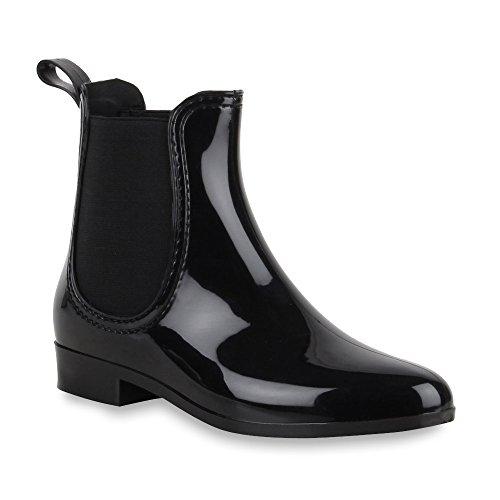 Damen Lack Stiefeletten Gummistiefel Chelsea Boots Schuhe 47275 Schwarz Bernice 39 Flandell