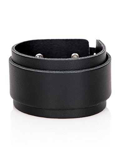 Stylez-Connection Lederarmband Herren Leder-Armband breit schwarz (Art.-Nr.: 2550-schwarz) - Breite Leder Schwarz