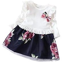 Vestidos niña,❤ Modaworld Vestido de Estampado de Flores Florales de Manga Larga para