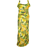 Mogul Interior Ladies Wrap Skirt Yellow Printed Beach Wear With Tank Top Long Skirts.