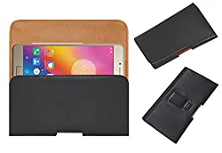 Acm Belt Holster Case for Lenovo P2 Mobile Leather Cover Clip Black