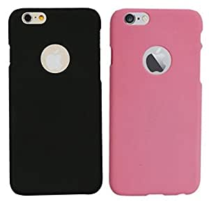 Chevron Back Cover Combo Of 2 for Apple iPhone 6 Plus (Black, Light Pink)