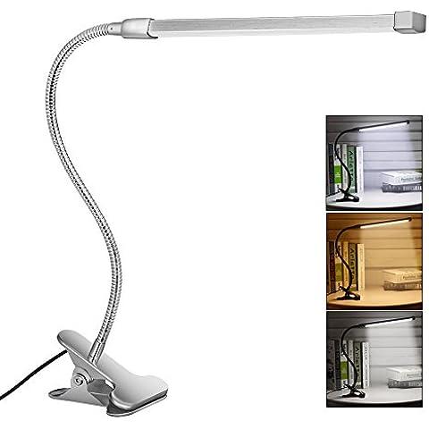 Svance Lámpara LED de Mesa, 8W Flexo Pinza con 3 Modos de Iluminación y 10 niveles de Brillo, Diseño cuello de cisne para Oficina Dormitorio Lectura Estudiar ( Plata )