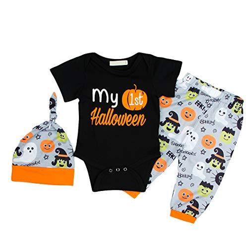 Anywow 3 stücke Säugling Baby Mädchen Jungen Meine Erste Halloween Baumwolle Strampler Tutu Rock Beinwärmer Kleidung Set (Erstes Halloween Mein Tutu-outfit)