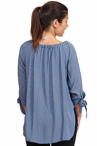 Jillymode Elegante Damen Tunika gestreift A1208 A1208-Jeansblau