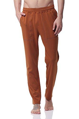 PH-20 Herren Ecosmart Fleece Sweathose ZIP Joggers hose Casual GYM Fitness Trousers Comfortable Tracksuit Slim Fit Bottoms with Pockets (M Yellow) (Fleece-6-pocket Pant)