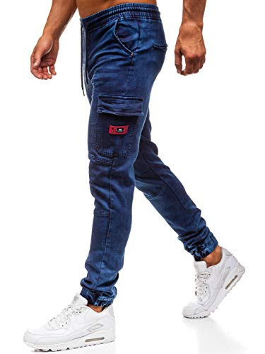 Bolf jeans – cargo – denim – coulisse - di moda - stile street – da uomo red fireball y271 blu l [6f6]