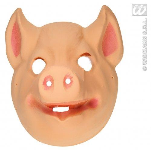 WIDMANN Kunststoff-Maske für Kinder - Schweine-Tier-Masken, Augenmasken und Verkleidungen für Maskenade, Kostüm-Zubehör