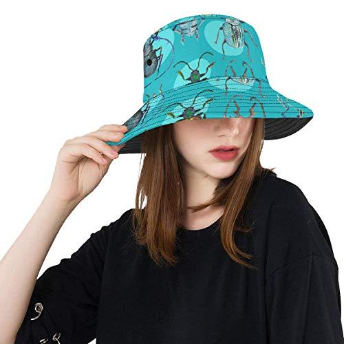 cher Kleiner Käfer Sommer Unisexfischen Sonnen Spitzen Eimer Hüte für Kind Teenager Frauen und Männer mit verpackbarer Fischer Kappe für Baseball Sport Picknick im Freien ()