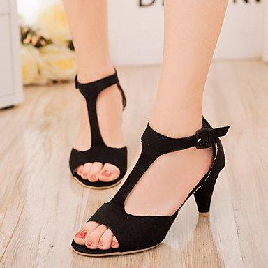 zhENfu Scarpe donna vello tacco basso Peep toe sandali abito nero/rosa/rosso Black
