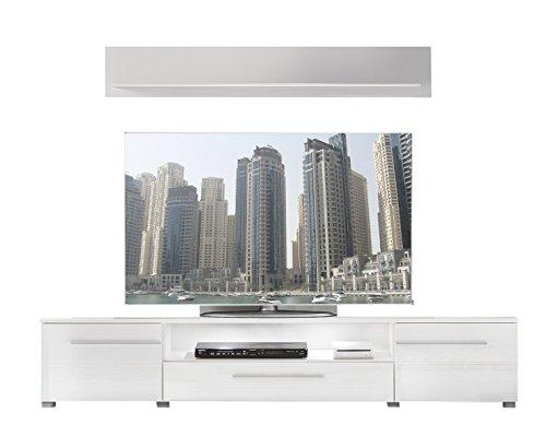 trendteam VIS32001 TV Möbel Lowboard Weiß Hochglanz + Wandboard Weiß Matt, Lowboard BxHxT 180x36x45 cm, Wandboard BxHxT 130 x 22 x 18 cm