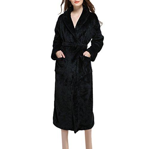 Zhuhaitf Winter Fashion Thick Men Women Super morbido Flannel Unisex accappatoio Nightgown Pigiama Full Length Black