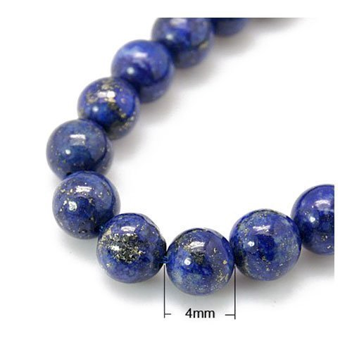 Strang 40+ Blau Lapislazuli 4mm Rund Perlen - (HA02330) - Charming Beads