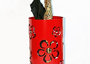 Schirmständer Design Flower Frame, 49 x Ø 22,5 cm, rot, Marke: Szagato, Made in Germany (Regenschirmständer, Schirmhalter, Regenschirmhalter) von SZ bei Gartenmöbel von Du und Dein Garten