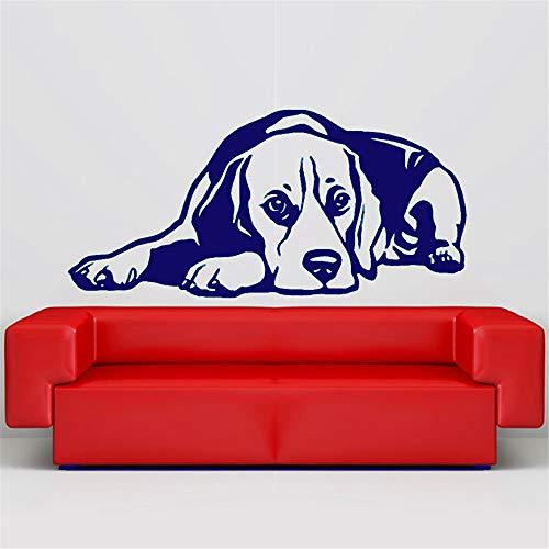 Haustier Hund Aufkleber Beagle Liegerad 3D Vinyl Wandaufkleber Kunst Wohnkultur Wohnzimmer Wandbild Wandaufkleber 115 * 55 cm -