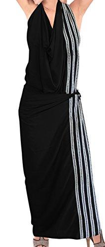 avvolgere beachwear da bagno costume da bagno vestito di coprire le donne sarong pareo gonna Nero 10