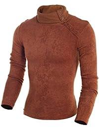 Pullover De Los Hombres De Alto Primavera Casual De Cuello Otoño Punto  Vintage Elegante Color Sólido De Suéter Stricktop Moda De… 940a61c139db