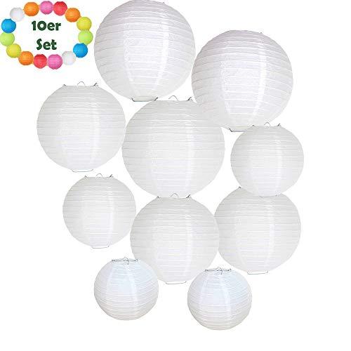 Lampions von sumbola | deko papier laterne für Hochzeit party und dekoration 10er Set Weiß