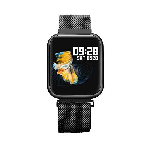 Chshe, P80 EdelstahlgüRtel Mit Bluetooth 4.0 Sport Smart Watch Wasserdichte Farbe Lcd Smart Watch Android(Schwarz) (Lg-touch-handys Entsperrt)