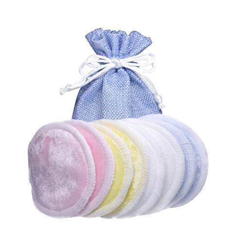 Imagen para Lurrose 8pcs Almohadillas removedoras de maquillaje de bambú Lave las toallitas de tela con un bolso de cordón de cáñamo natural (azul cielo)
