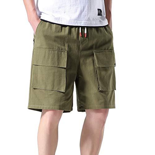 Sportliche Fleece Knit Pants (Xmiral Shorts Herren Taschen Overall Elastische Taillen Sommershorts Sports Hose Bleistift-Hosen Jogger Mode Shorts mit Taschen(Grün,L))