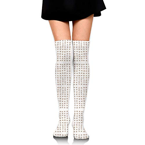 DGHKH Form Square Polka Dot Tight Nude On White Fabric Novelty Socks Tall Socks Knee High Graduated Compression Socks for Unisex