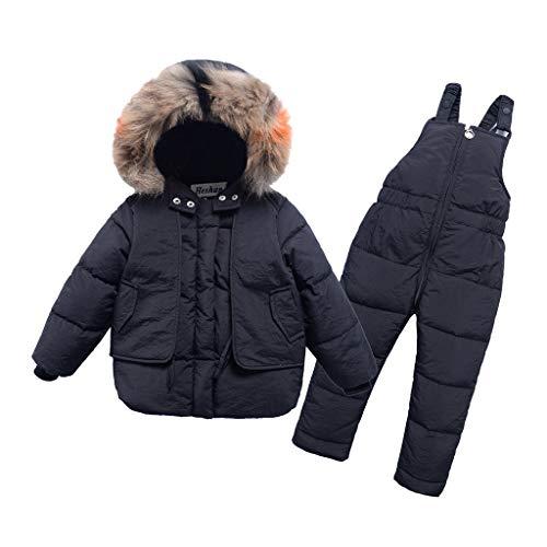 LEXUPE Baby Winter Fleece Overall Mit Kapuze Mädchen Jungen Schneeanzüge Warm Strampler Outfits 0-12 Monate(Schwarz,130)