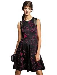 Next Floral Rose Black Red Pink Skater Dress