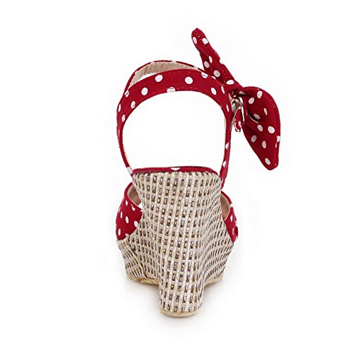 VogueZone009 Damen Polka-Dots Schnalle Fischkopf Schuhe Hoher Absatz Sandalen Rot