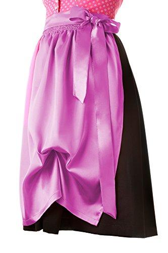 Dirndlschürze Trachtenschürze midi 69 cm pink - rosa oder lila aus Seidensatin, Trachtenmode für Damen