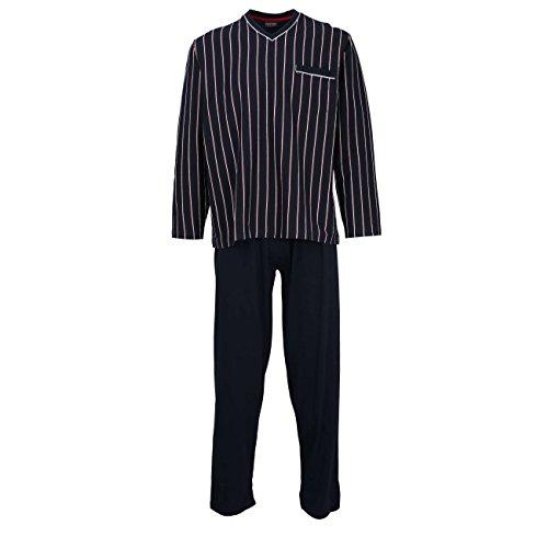 Ceceba Herren Pyjama, Schlafanzug, Oberteil und Hose - Langarm, Baumwolle, Jersey, Navy, gestreift 54