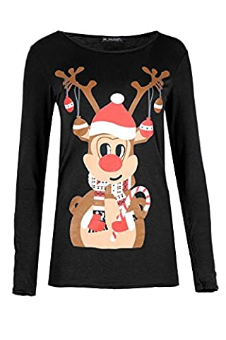Womens Christmas T Shirt Ladies Reindeer Candy Stick Long Sleeve