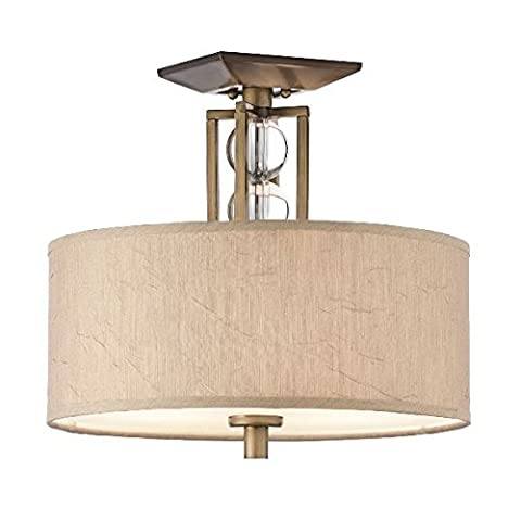 The Cambridge Semi Flush - Bronze Metalwork with Neutral Crinkle Shades